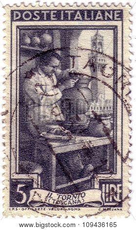 Italy - Circa 1950: A Stamp Printed In Italy, Shows Potter, Piazza Della Signoria, Florence (tuscany