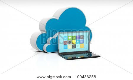 Cloud and laptop icons isolated on white background.