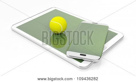 Tennis field with ball on smartphone edge and tablet display, isolated on white.