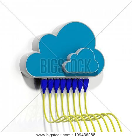 Cloud icons with Ethernet cables, isolated on white background.