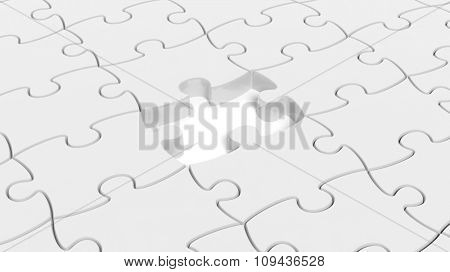 Abstract background with white puzzle pieces one piece missing.