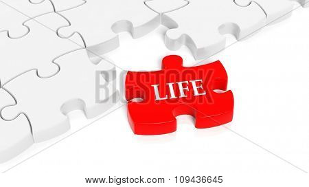 Abstract white puzzle pieces background  with one red with Life text.