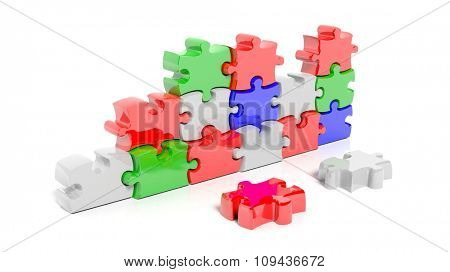 Colorful puzzle pieces forming wall, isolated on white.