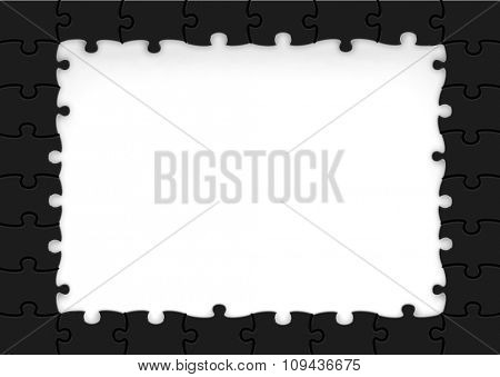 Frame made of black puzzle pieces with copy-space.