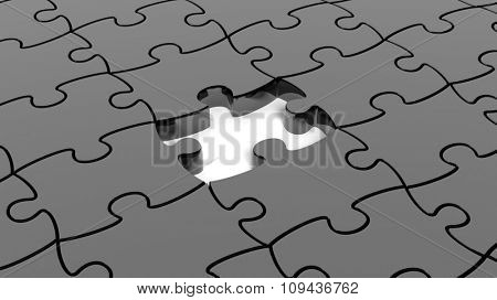 Abstract background with black puzzle pieces one piece missing.