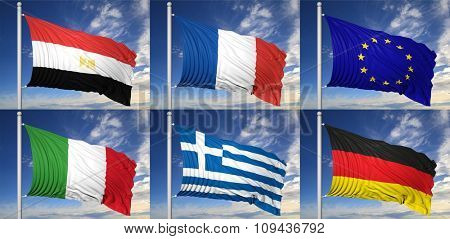 Collection of six flags of Egypt,France, EU,Italy,Greece, Germany