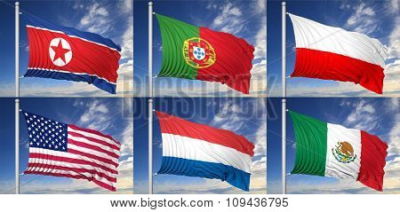 Collection of six flags of North Korea, Portugal, Poland, USA, Russia, Mexico,