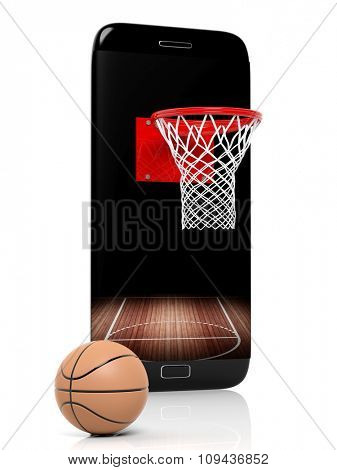 Basketball field with basket and ball on smartphone edge display, isolated on white.