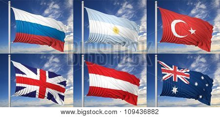 Collection of six flags of Russia, Argentina, Turkey, UK, Austria, Australia