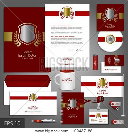 Red Corporate Identity Template With Golden Shield