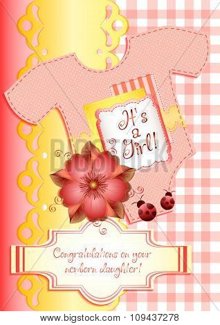 Card In Scrapbooking Style For Greetings With Newborn Girl