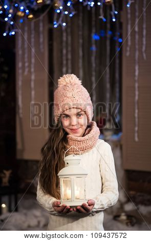 Pretty Little Girl With Flashlight