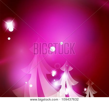 Holiday pink abstract background, winter snowflakes, Christmas and New Year design template, light shiny modern vector illustration