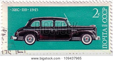 Ussr - Circa 1976: A Stamp Printed In The Ussr (russia) Shows Old Soviet Car 1945 Zis_110 , Series,
