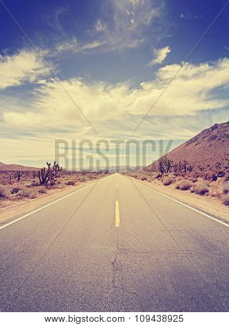 Vintage Toned Endless Country Highway In Death Valley, Usa.