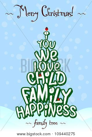 Christmas family Love tree typography card design