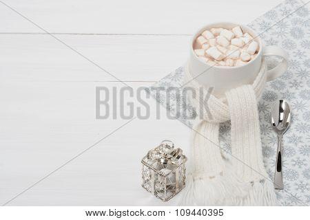 Mug Of Hot Chocolate With Scarf. Marshmallows. Christmas Decorat