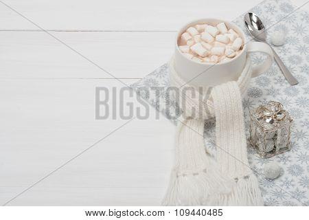 Mug Of Hot Chocolate With Scarf. Marshmallows. Christmas Decorations