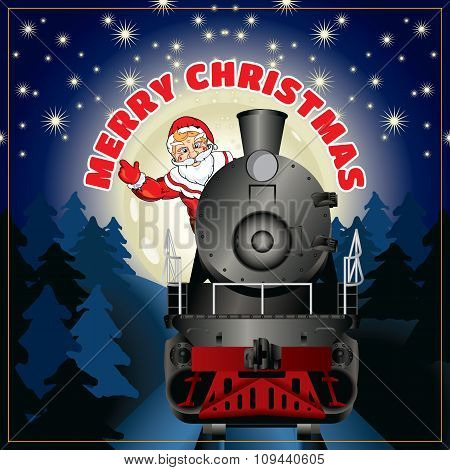 banner of a illustration of Santa Claus on a steam locomotive