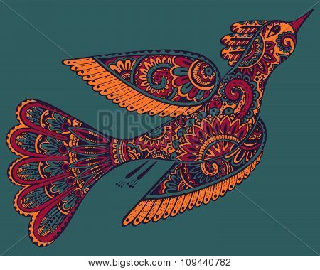 Vector Hand Drawn Illustration Of Ornamental Fancy Bird.