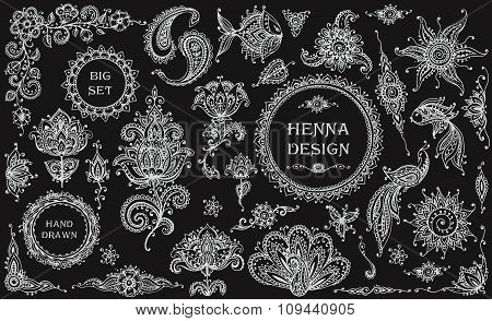 Big Vector Set Of Henna Floral And Animal Elements And Frames