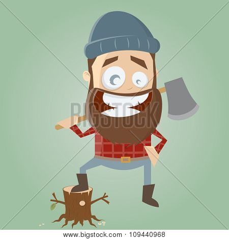 funny cartoon lumberjack