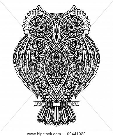 Black And White Vector Hand Drawn Ornate  Owl