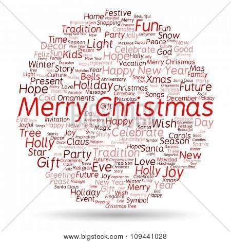 Concept or conceptual Merry Christmas holiday or Happy New Year winter abstract text word cloud on white background
