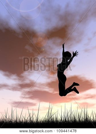 Concept or conceptual young woman or businesswoman silhouette jump happy on grass field at sunset or sunrise sky background