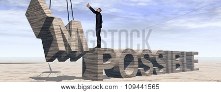 Concept conceptual 3D business man standing over abstract stone impossible text on sky banner background