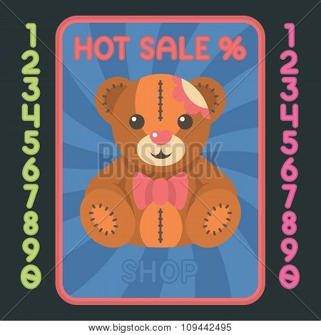 Teddy Bear Flat Design Icon. Vector Hot Sale Label.