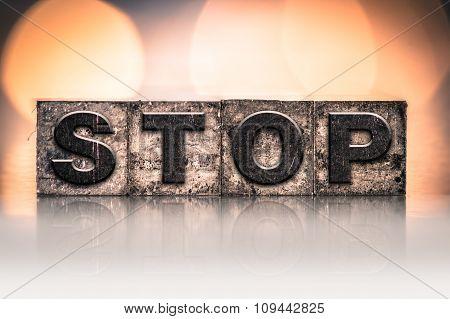 Stop Concept Vintage Letterpress Type