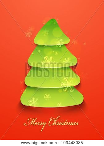 Flyer, Banner or Pamphlet with creative green Xmas Tree on Snowflakes decorated glossy background for Merry Christmas celebration.