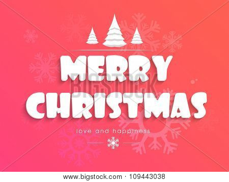 Snowflakes decorated beautiful greeting card design for Merry Christmas celebration.