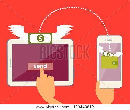 Send and receive money online via the Internet. Vector illustration