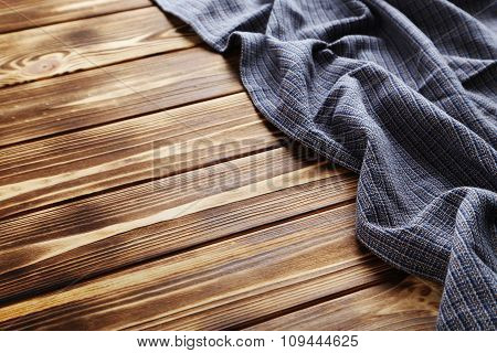 Napkin On Brown Wooden Table, Close Up