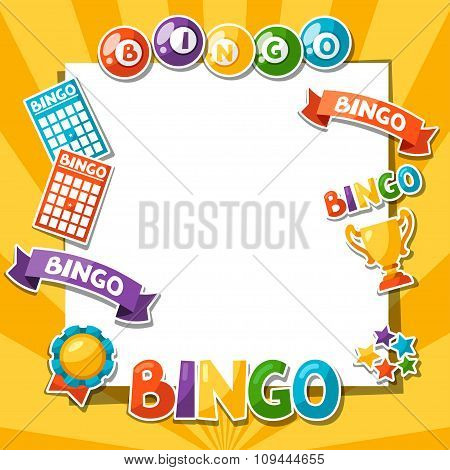 Bingo or lottery game background with balls and cards