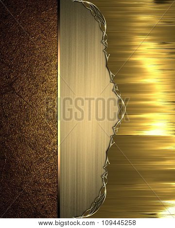 Grunge Gold Background With A Beautiful Plate. Element For Design. Template For Design. Copy Space F