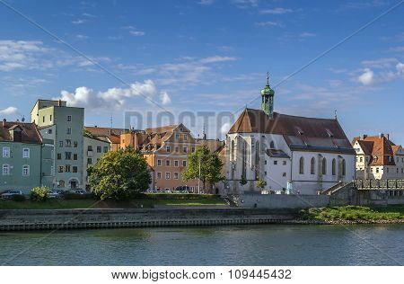 View Regensburg With Church Of St. Oswald