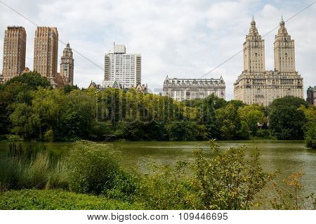 The Lake in New York Central Park summer view