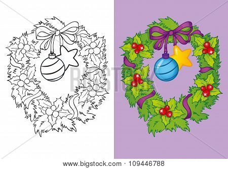 Coloring Book Of Traditional Christmas Wreath