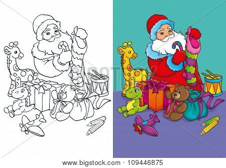 Coloring Book Of Santa Claus Packs Gifts