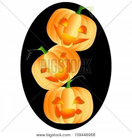 Three bright and ripe pumpkins on black frame