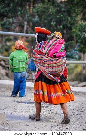 Quechua Mother With Daughter In A Village In The Andes, Ollantaytambo, Peru