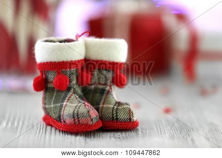 Christmas decoration on table on bright background