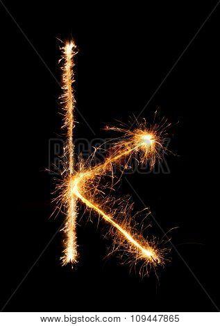 Sparkler Firework Light Alphabet K (small Letters) At Night