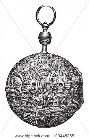 Silver watch chiseled, eighteenth century, vintage engraved illustration. Industrial encyclopedia E.-O. Lami - 1875.