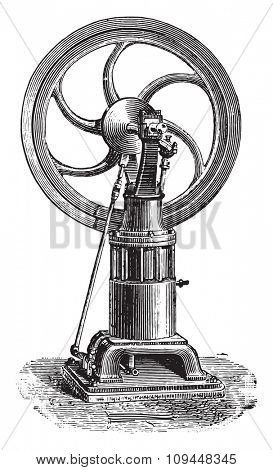 Francois motor latter type has only one rod and one shelf-crank, vintage engraved illustration. Industrial encyclopedia E.-O. Lami - 1875.