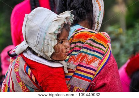 Quechua Baby Girl In A Village In The Andes, Ollantaytambo, Peru