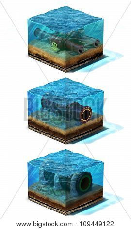 Collection of three 3d Illustration. Oil and gas pipelines are lying on section of ocean bottom